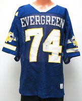 vtg EVERGREEN COUGARS FOOTBALL #74 Game Jersey L Champion high school 70s/80s