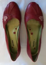 """""""Bronx"""" Women's 100% Leather shoes, Size 3, Red with heart diamante detail"""