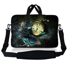 "13.3"" 13"" Laptop Mackbook Chromebook Sleeve Bag Case w Shoulder Strap Clock S50"