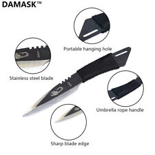 """4"""" Damask Tactical Fixed Blade Knife Black Stainless Steel"""