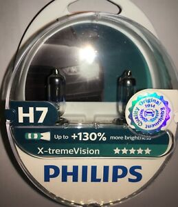 PHILIPS XTREME VISION +130% H7 HEADLIGHT BULBS 12972XV+S2 TWIN PACK H7 UPGRADE
