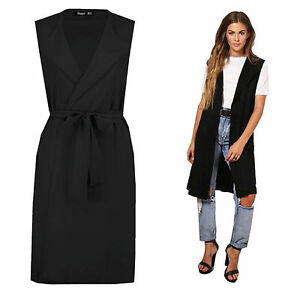 Black Ladies Sleeveless Tie Belted Midi Duster Jacket, Cape, Cardigan