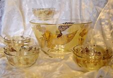 9 Pc MCM VTG Leaf & Berry Glass Salad / Dessert Bowl Set 1950's Gold & Cream