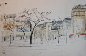 1992 Watercolor drawing cityscape Paris signed