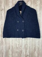 Women's NWOT Sundance Dark Blue Wool-Blend Double-Breasted Knit Cape Poncho M