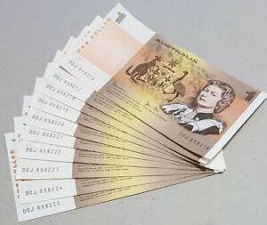 1982 Australian 10X$1 NOTE 1st PREFIX DGJ Cons aUNC/UNC Banknotes DGJ 898216-225