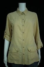 Chico's Misses 0 SMALL 4 6 Beige Snap Front Roll Tab Sleeve Shirt Jacket