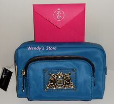Juicy Couture Nylon  Double Cosmetic Case NEW with tags on Blue **