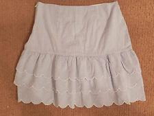 Talbots Kids 20 Blue/White Striped Seersucker Skirt Scalloped Tiered Preppy