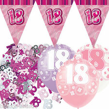 Pink Silver Girl Glitz 18th Birthday Flag Banner Party Decoration Pack Kit Set
