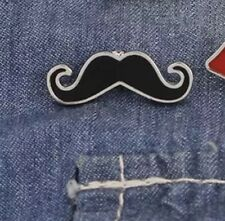 Moustache Enamel & Metal Pin Badge Movember Tash Funny Quirky Uk Seller
