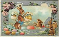 Cute~Bunny Rabbit with Chick Back Pack ~Flowers~ Antique Easter~Postcard~a663