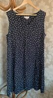 Hobbs Dress Navy Blue White Polka Dot Size 16 Spots