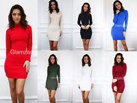 Glamzam New Womens Ladies Polo Turtle Neck Long Sleeve Mini Bodycon Party Dress