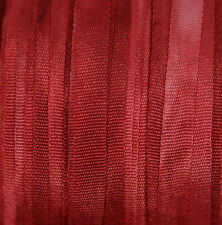 Red Silk Ribbon 7mm 100% Pure  Embroidery Hand Dyed Deep Carmine - 3 mtr