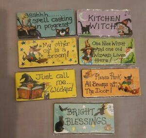 Fridge magnets, witchy slogans, spells,