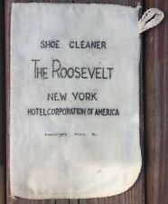 """Vintage Roosevelt New York Hotel Corporation Of America Cloth Shoe Cleaner 7""""x5"""""""