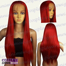 70cm Lace front Dark Red Heat Styleable Long Cosplay Wigs T_DDR