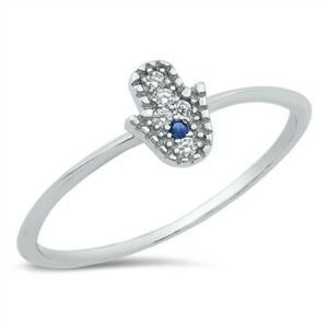 Petite 925 Sterling Silver Clear & Blue CZ Cubic Zirconia Hamsa Hand Ring