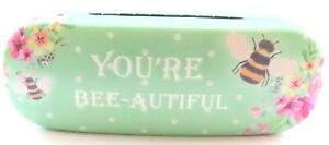 You're Bee-autiful Green Floral Bee Hard Glasses Case