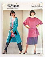 Vtg 1980's Vogue Diane Von Furstenberg Dress Sewing Pattern 1170 6 8 10 Uncut