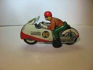 Rare T.N. Nomura Japan Tin Litho Friction Motorcycle Toy #60 1950's