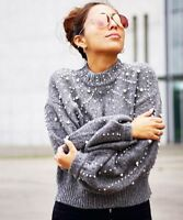 Occident New Womens Cashmere Wool Loose Cropped Sweater With Pearls Retro Grey