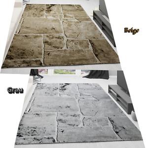 Teppich Steinboden Marmor Optik Design Modern Wohnzimmerteppich Braun / NEU