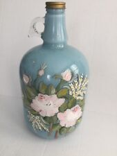 VINTAGE GLASS GALLION JUG FLORAL HAND PAINTED ART DURAGLAS