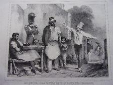 """LITHOGRAPHIE """" DE QUOI ?... TRAVAILLER !..BON POUR LES FAIGNANS """" 1860"""