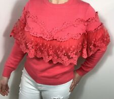 Lace Jumper Ruffles Frills Top Pink Vintage Lace Top Fashion On Trend Summer NEW