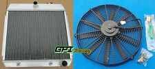 3 ROWS ALUMINUM RADIATOR FOR 1955-1957 CHEVY BEL AIR V8 W/COOLER & 16 INCH FAN