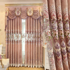 European pink Chenille embroidered blackout curtain tulle valance drape M832