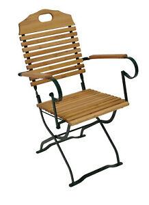 Gartenstuhl Klappsessel Biergartenstuhl Stuhl mit Armlehnen BAD TÖLZ, 2. WAHL