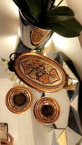 OTTOMAN COPPER HANDMADE TRAY ENAMEL ENGRAVINGS,TURKISH COFFEE TEA SERVING
