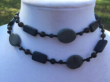 HDMD by Cyndi Necklace of Blackstone and Green Marble with Black Glass Beads