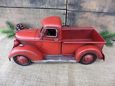 RED PICKUP TRUCK Folk Art Rustic Farmhouse Decor Vintage Style Metal Toy Pick-up
