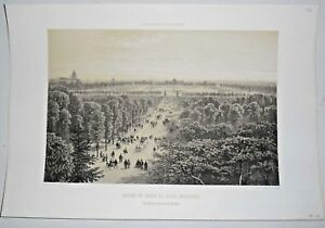 Gravure Paris 1861 Lithographie - Champ de Mars et école Militaire