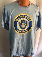 Milwaukee Brewers Light Blue Old School Logo Tee Shirt SGA Adult Size XL
