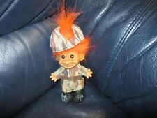 RUSS SOLDIER TROLL DOLL CAMOUFLAGE MARINE, ARMY - BOOTS, RIFLE & HELMET