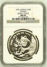 China 1991 1 oz 10 Yuan silver panda Small Date  NGC MS69 SN:2777922-003