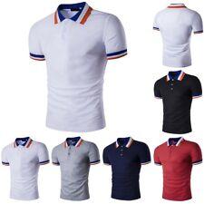 Nuevo Para Hombre Corte Ajustado Estilo Polo Golf camisas Sólido Manga Corta Informal Camiseta Camiseta Prendas para el torso
