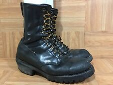 VTG🔥 Red Wing 699 Tall Fire-Fighter Boots Black Leather Made In USA 10.5 WORN