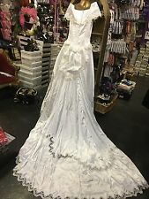 Beautiful Ivory White Satin & Lace Wedding  Dress Decorated W/ Pearls & Sequins