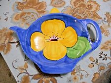 Bellini Piu Teapot Shaped Decorative Plate Tray Platter with Yellow Flower