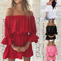 Women's Holiday Off Shoulder Sexy Mini Dresses Ladies Summer Ruffle Sleeve Tops