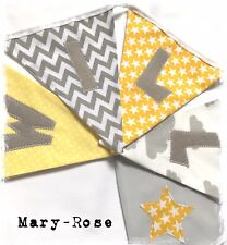 Baby Boy Personalised Name BUNTING Grey White Yellow Stars Clouds Luxury fabric