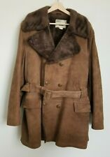 Craft Sportswear Vintage Coat Suede Double Breast Belt Borg Lined Brown Pocket M