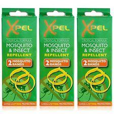 Xpel 6 x Adulto Zanzara & Bug Repellente Per Insetti Fasce Da Polso Protezione