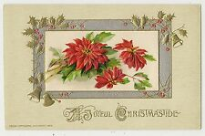 ANTIQUE WINSCH CHRISTMAS POSTCARD RED POINSETTIAS GOLD BELLS HOLLY LEAVES 1913